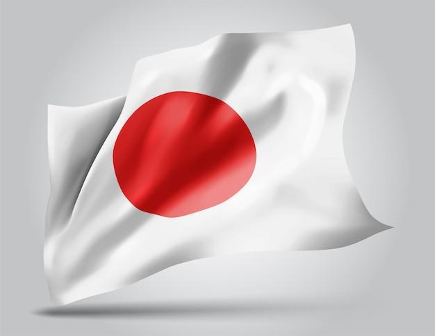日本、白い背景の上の風に手を振る波と曲がりのベクトル旗。