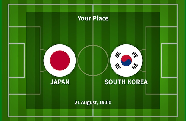 Japan versus south korea football or soccer poster match design with flag and football field