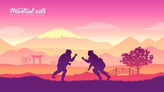世界のさまざまな国の日本の戦士の武道