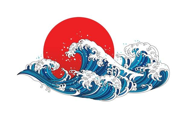 일본 파도 바다 그림입니다. 아시아와 동양의 전통적인 호쿠사이 라인 아트 디자인.