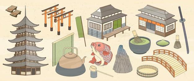 浮世絵風の日本の建築と食べ物