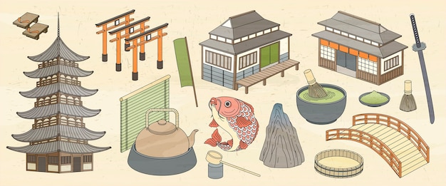 Japanese architectures and food  in ukiyo-e style