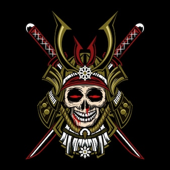 Japanese army skull head vector