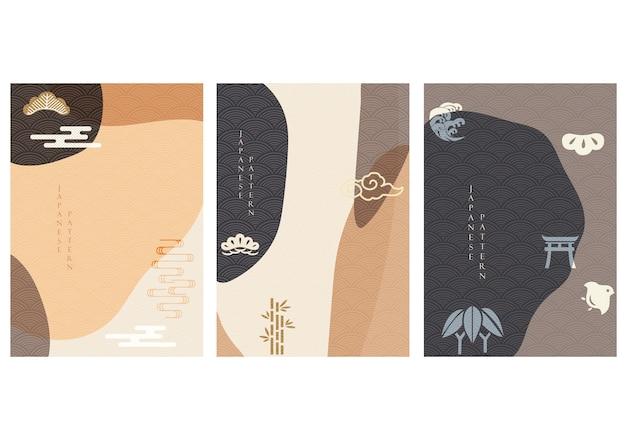 일본 배경. 아시아 아이콘 및 기호. 동양 전통 포스터 디자인. 추상 패턴 및 템플릿입니다. 모란 꽃, 파도, 바다, 대나무, 소나무 및 태양 요소.