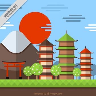 フラットスタイルで日没風景の日本の背景