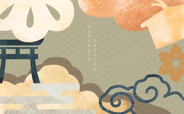 アジアの伝統的な要素を持つ日本の背景。オリエンタルスタイルのグランジテクスチャと抽象的なテンプレート。