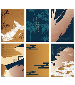 Japanese background with crane birds and bamboo decoration vector. castle, wave, cloud and gate object. oriental template with asian icon.