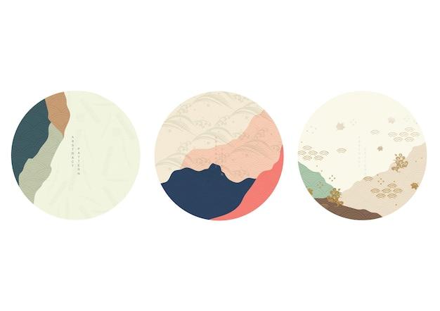 곡선 요소 벡터와 일본 배경입니다. 동양 스타일의 예술 풍경이 있는 추상 템플릿입니다. 빈티지 스타일의 로고 및 아이콘 디자인.