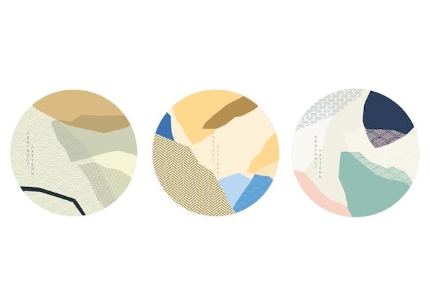 곡선 요소 벡터와 일본 배경입니다. 동양 스타일의 기하학적 패턴으로 추상 템플릿입니다. 로고 및 아이콘 디자인입니다.