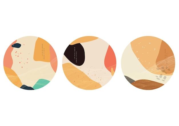 곡선 요소 벡터와 일본 배경입니다. 오리엔탈 스타일의 선 패턴이 있는 추상 템플릿입니다. 로고 및 아이콘 디자인입니다.