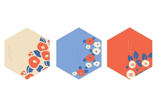 花の装飾ベクトルと日本の背景。ヴィンテージスタイルの幾何学的なテンプレート。ロゴとアイコンのデザイン。