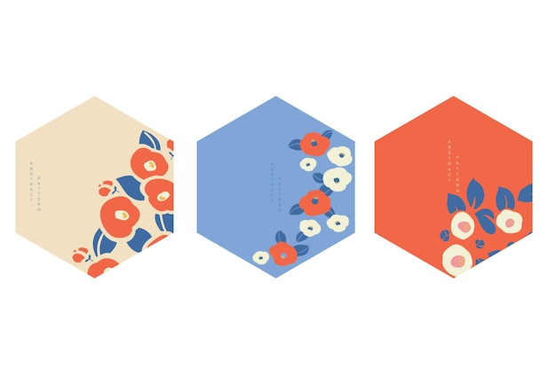 Japanese background with flower decoration vector. geometric template in vintage style. logo and icon design.