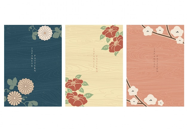 Japanese background with flower elements vector. wooden texture in asian design.