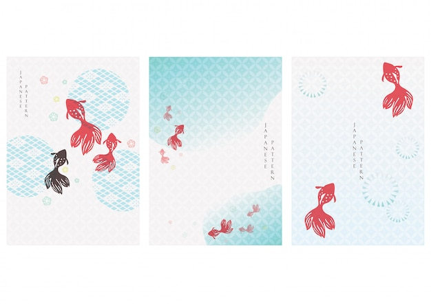 Japanese background with gold fish  . asian pattern with icon elements. water and river template in vintage style.
