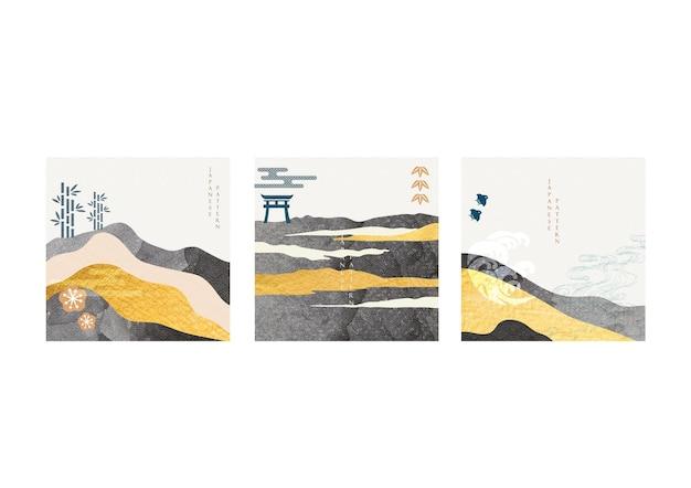 금박 질감 벡터와 일본 배경입니다. 빈티지 스타일의 손으로 그린 웨이브 패턴이 있는 추상 풍경 템플릿입니다. 아시아 아이콘 및 기호입니다.