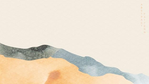 Grunge 텍스처와 일본 배경입니다. 산 숲 넓은 벽지와 추상 풍경 배너입니다.