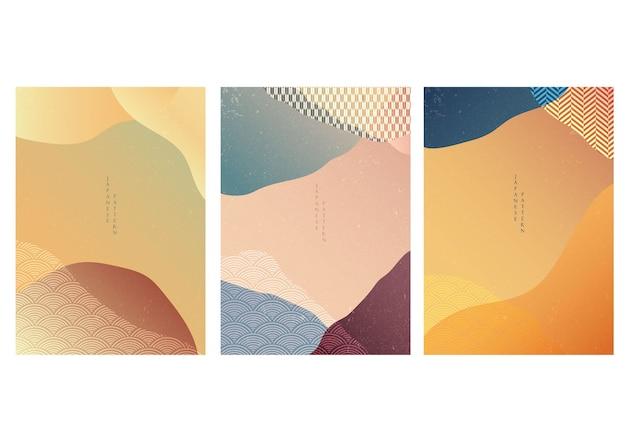 手描きの波と日本の背景。幾何学模様の抽象的なテンプレート。オリエンタルスタイルのアート風景レイアウトデザイン。