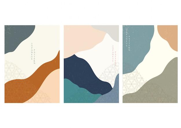 손으로 그린 된 파도와 일본 배경입니다. 기하학적 패턴으로 추상 템플릿입니다. 오리엔탈 스타일의 산 레이아웃 디자인.