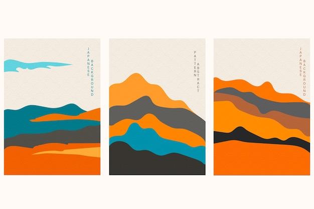 手描きの波数ベクトルと日本の背景。幾何学模様の抽象的なテンプレート。オリエンタルスタイルのマウンテンレイアウトデザイン。