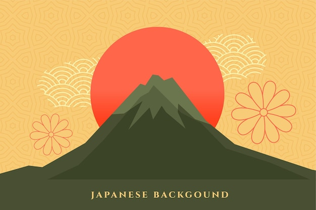Japanese background with mount fuzi  decorative