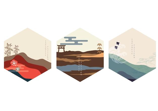 山の森のベクトルと日本の背景。アジアのアイコンとシンボルのデザイン。竹、鳥、門、手描きの波の装飾。