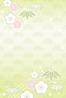 Japanese background with traditional celebration flowers and plants