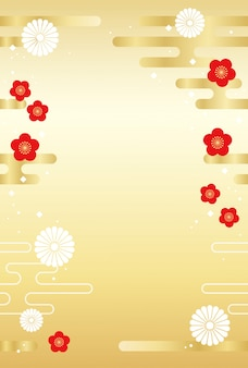 Japanese background with traditional flowers and clouds