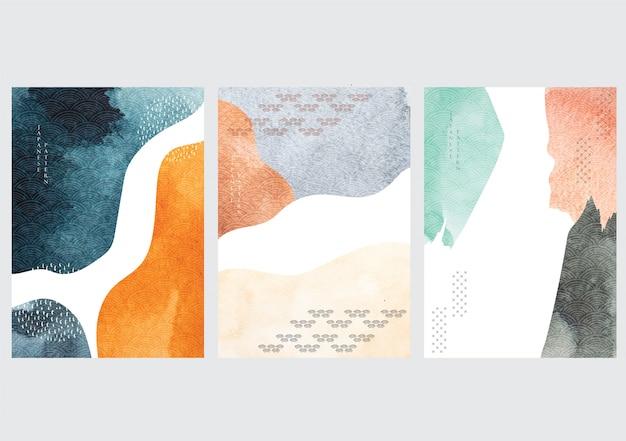 수채화 텍스처와 일본 배경입니다. 아시아 스타일의 기하학적 패턴으로 추상 템플릿입니다.
