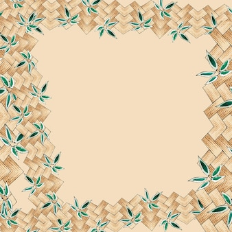 Japanese bamboo weave background frame, remix of artwork by watanabe seitei