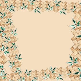 日本の竹織りの背景フレーム、渡辺省亭によるアートワークのリミックス