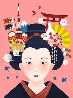 Japanese beautiful geisha illustration