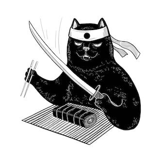 Японский черный кот ест суши палочками для еды. вектор самурайский кот с катаной для дизайна, футболки, печати, плаката