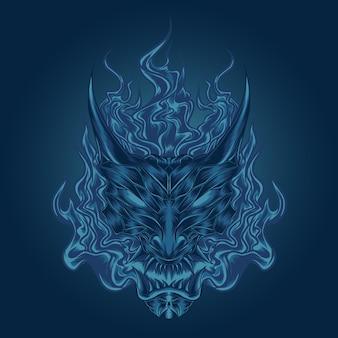 일본 푸른 불꽃 악마 마스크 그림