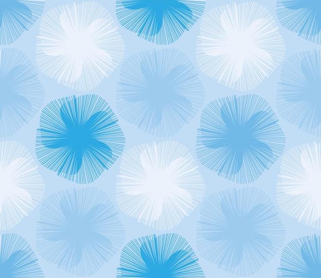 Japanese blue handheld fan floral seamless pattern