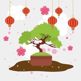 日本の盆栽装飾