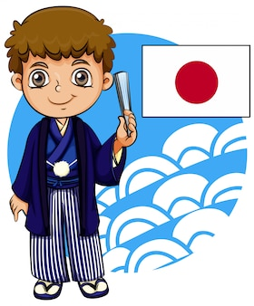 Japanese boy with flag
