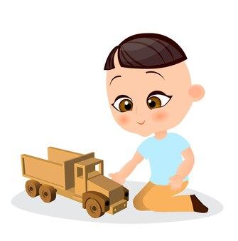 장난감 자동차와 함께 일본 소년입니다. 소년 재생 자동차입니다. 플랫 만화 스타일입니다.