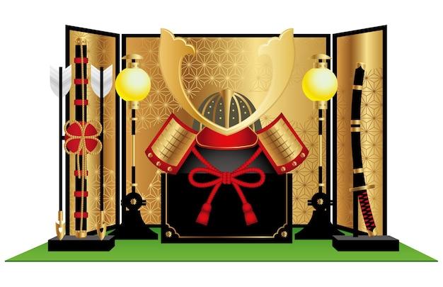 사무라이 헬멧, 활, 화살 및 칼과 같은 빈티지 아이템으로 일본 소년 축제 전시