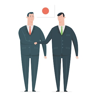 Japanese businessman handshake with a business partner