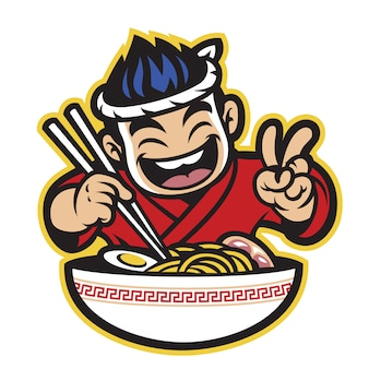 Japanese cartoon chef eating the ramen