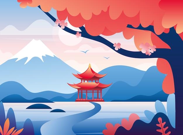 일본 성 및 눈 덮인 후지산 피크 다채로운 그림. 아름다운 동양 자연 플랫