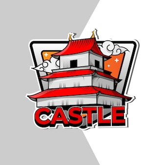 Japanese castle emblem logo design
