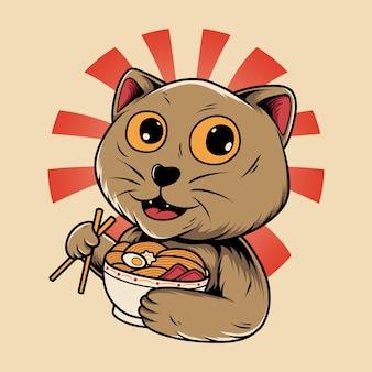 Japanese cat character eating ramen