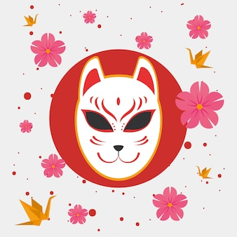 Japanese cat lucky with flowers