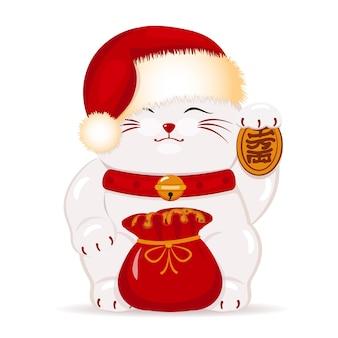 Японский кот манэки неко в новогодней шапке санты.