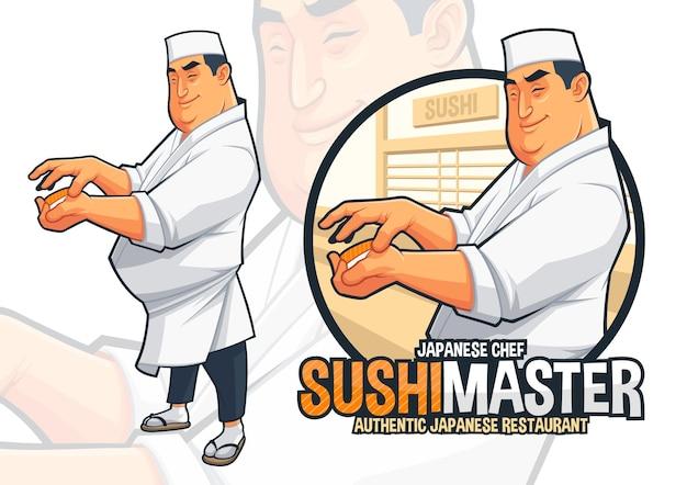 Japanese chef preparing sushi illustration