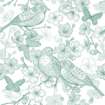 Japanese cherry, bird and butterflies. seamless pattern. green and white.