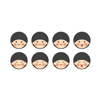 Japanese chibi emoji character set