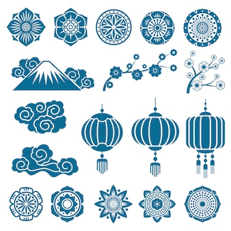Japanese and chinese asian motif vector decor elements
