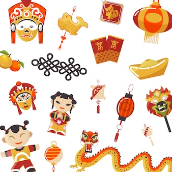 Japanese and chinese culture elements set
